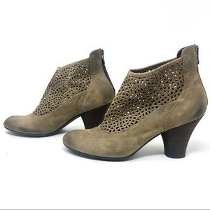 Audley London Taupe Leather Lattice Ankle Boots 39